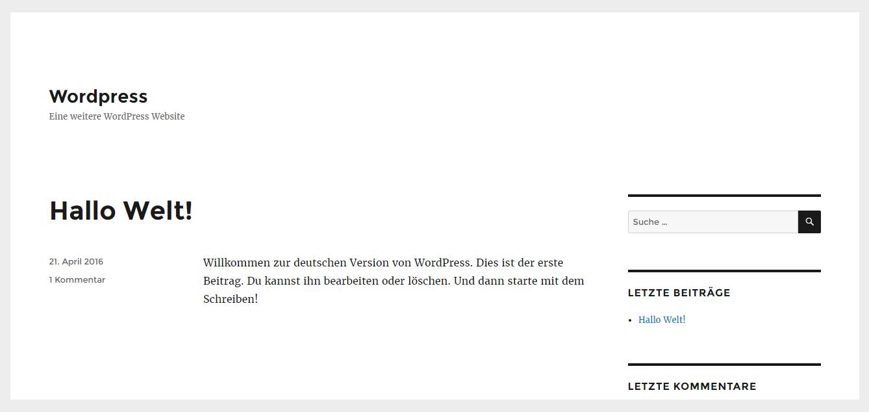 WordPress Standart Homepage